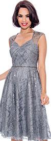 Annabelle 8721-Silver - Sleeveless Dress With Diamond Style Neckline