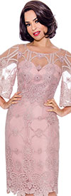 Annabelle 8735-Rose - Bell Sleeve Dress With Lace Illusion Detail Design