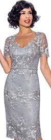 Annabelle 8743 - Illusion Neckline Short Sleeve Lace Design Dress