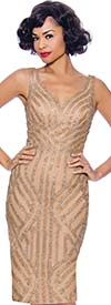 Annabelle 8744-Gold - Sleeveless Fitted Dress With Sweetheart Neckline