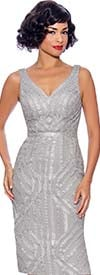 Annabelle 8744-Silver - Sleeveless Fitted Dress With Sweetheart Neckline