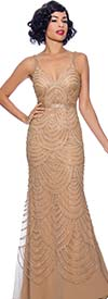 Annabelle 8745-Gold - Spaghetti Strap Style Flare Dress With Ornate Pattern Design