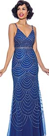 Annabelle 8745-Royal - Spaghetti Strap Style Flare Dress With Ornate Pattern Design