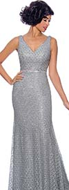 Annabelle 8747 - Sleeveless Floor Length Flare Dress With Vee Neckline