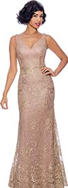 Annabelle 8748-Gold - Sleeveless Fitted Flare Dress With Vee Neckline