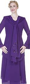 Aussie Austine Christie 640 Double Georgette Suit With Cascading Collar Jacket