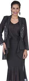 Aussie Austine Christie 672 Double Georgette Skirt Suit With Flounce Hem & Embellished Jacket