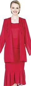 Aussie Austine Christie 678 Double Georgette Skirt Suit With Pleated Flounce Hem