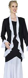 Aussie Austine Christie 681 Ruffled Trim Double Georgette Skirt Suit With Pleated Flounce Hem
