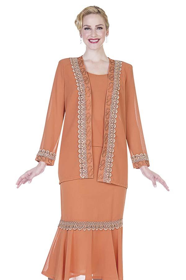 Aussie Austine Christie 654 Double Georgette Womens Suit With Flounce Hem Skirt & Scallop Applique