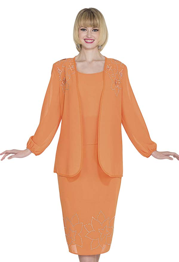 Aussie Austine Christie 671-Apricot - Double Georgette Skirt Suit With Floral Pattern Embellishments