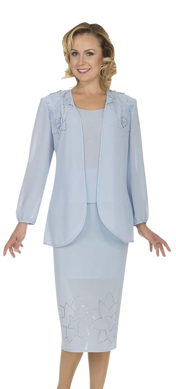 Aussie Austine Christie 671-Blue - Double Georgette Skirt Suit With Floral Pattern Embellishments
