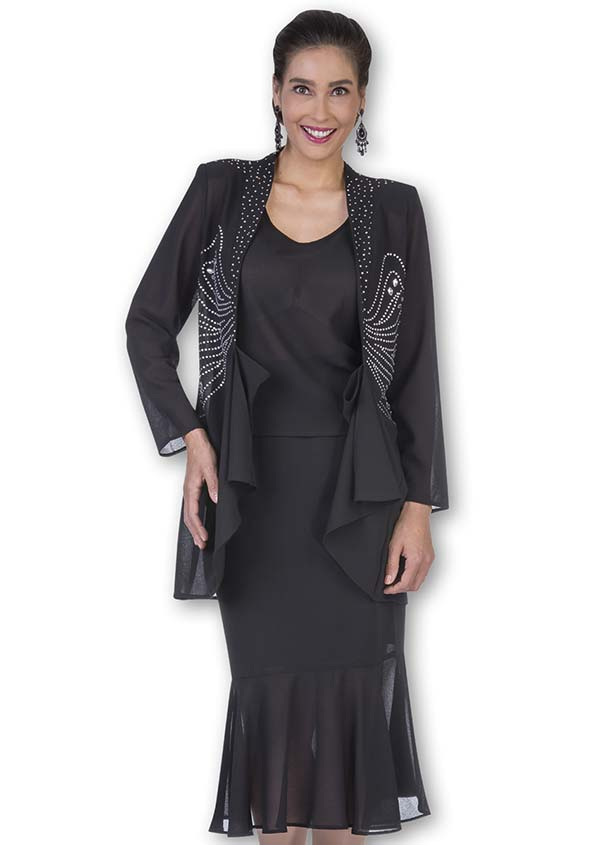Aussie Austine Christie 672 Double Georgette Skirt Suit With Flounce Hem & Embellished Jacket