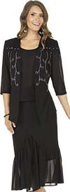 Aussie Austine Christie 674-Black - Double Georgette Skirt Suit With Pleated Flounce Hem & Embellished Shoulders