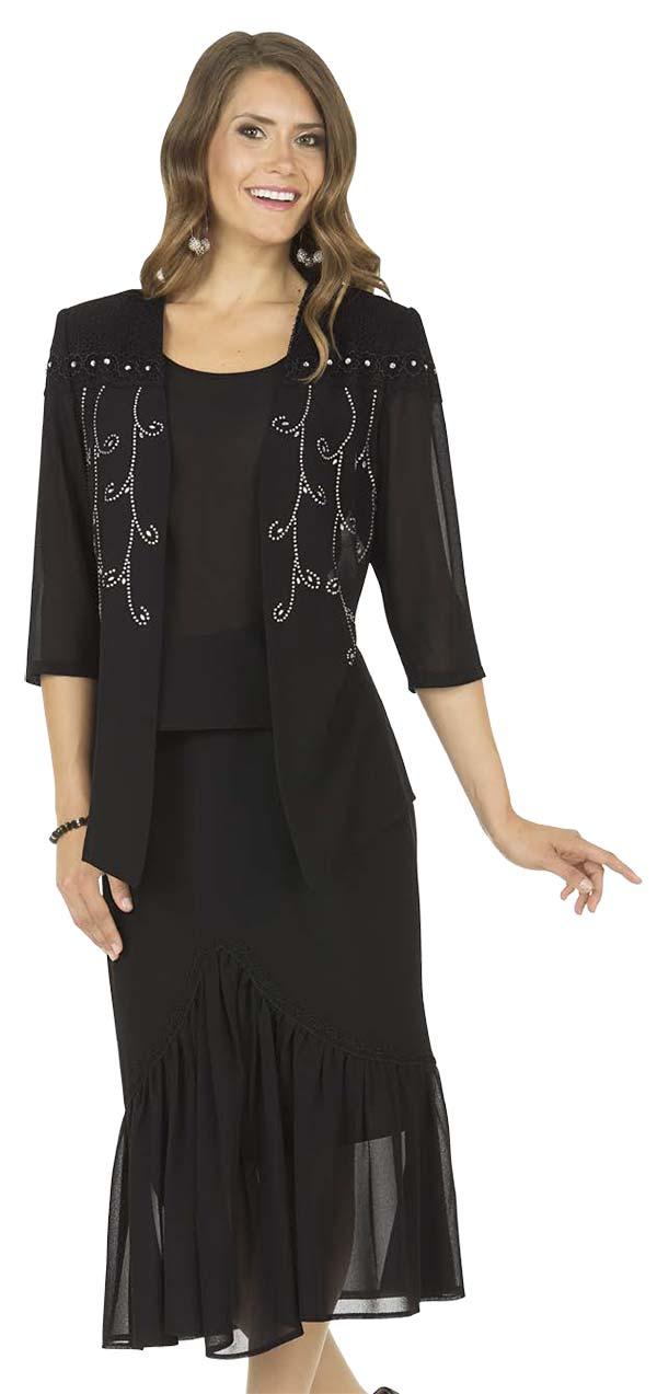 Aussie Austine Christie 674-Black - Double Georgette Skirt Suit With Pleated Flounce Hem & Embellished Shoulders