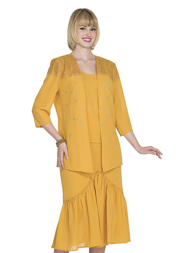 Aussie Austine Christie 674-Gold - Double Georgette Skirt Suit With Pleated Flounce Hem & Embellished Shoulders