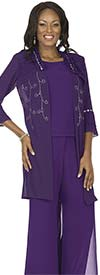 Aussie Austine Christie 675 Double Georgette Pant Suit With Layered Bell Cuff Sleeves