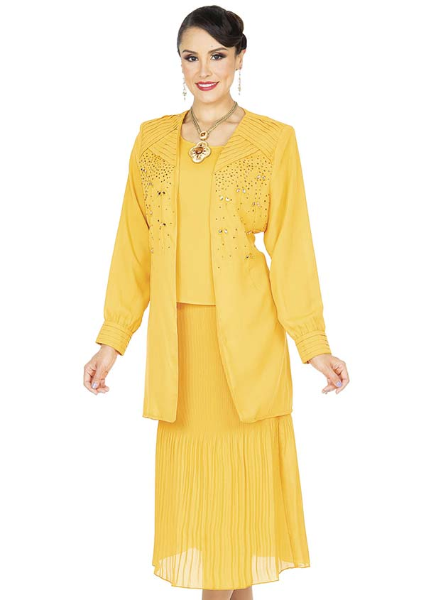 Aussie Austine Christie 679-Gold - Double Georgette Suit With Pleated Skirt