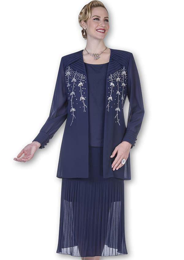 Aussie Austine Christie 679-Navy - Double Georgette Suit With Pleated Skirt