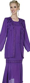 Aussie Austine Christie 680-Purple - Double Georgette Skirt Suit With Handkerchief Flounce Hem