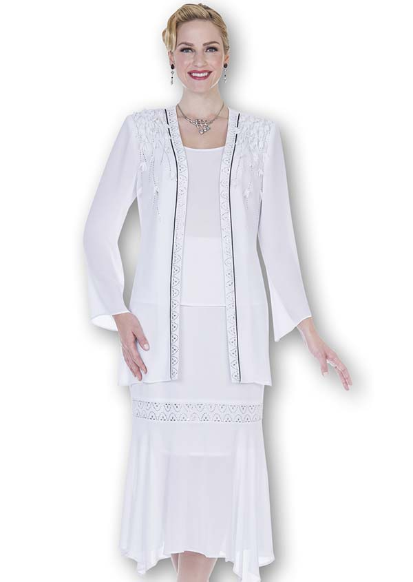 Aussie Austine Christie 680-White - Double Georgette Skirt Suit With Handkerchief Flounce Hem