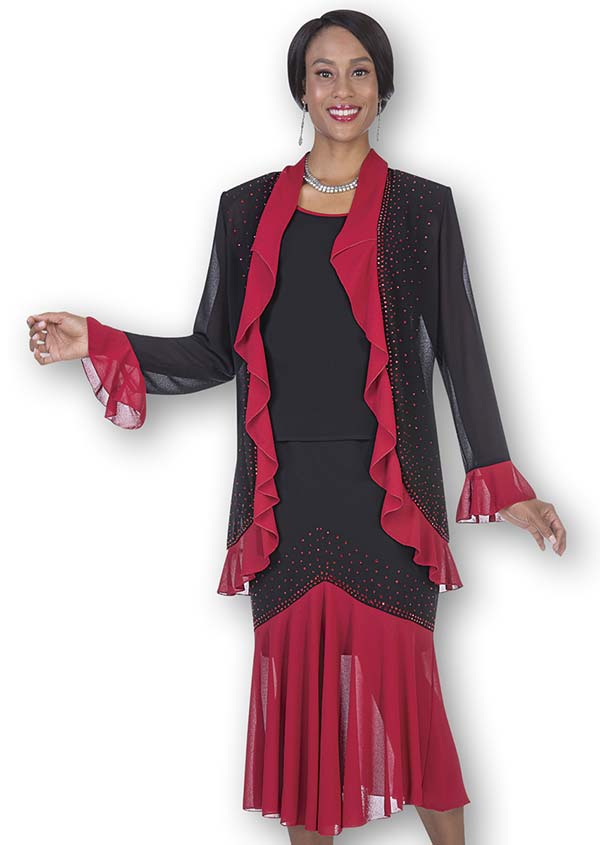 Aussie Austine Christie 681-Red - Ruffled Trim Double Georgette Skirt Suit With Pleated Flounce Hem