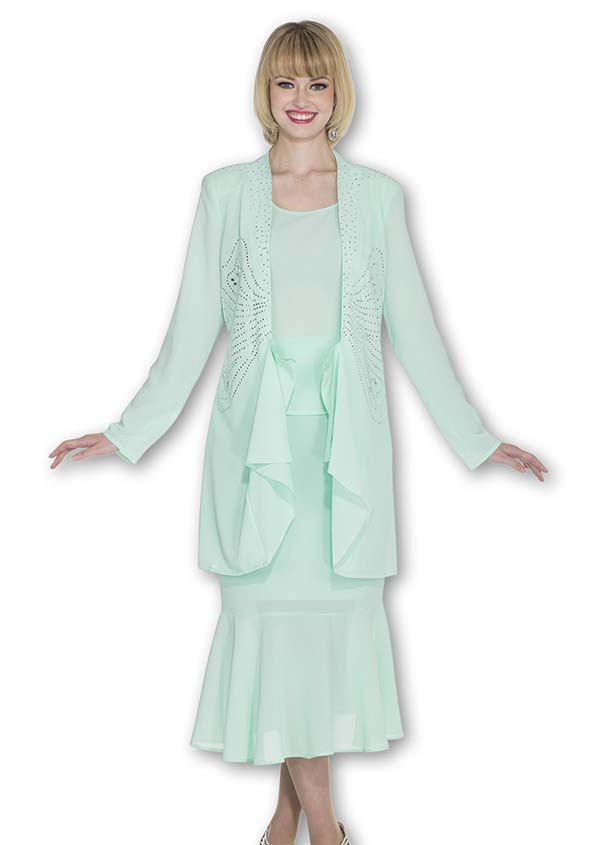 Aussie Austine 672 Double Georgette Skirt Suit With Flounce Hem & Embellished Jacket