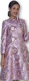 Aussie Austine 1027 Novelty Brocade Bell Dress With Ruffle Neckline