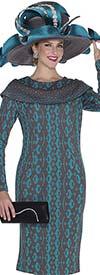 Aussie Austine 4957 Retro Pattern Knit Dress With Bertha Style Collar