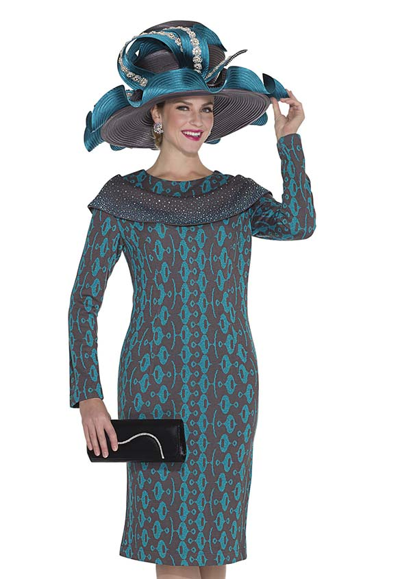 Aussie Austine 4957 Retro Pattern Knit Dress With Bertha Style Collar