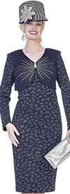 Aussie Austine 4959 Exclusive Knit Fabric Dress With Vee Neckline Embellished Bodice