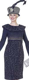 Aussie Austine 4964 Exclusive Knit Fabric Dress With Bertha Collar