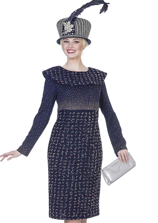 Aussie Austine 4964 Exclusive Knit Fabric Dress With Bertha Collar