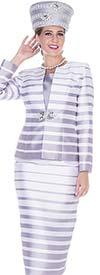 Aussie Austine 5011 Stripe Print Twill Satin Fabric Jacket & Dress Suit