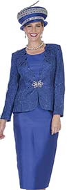 Clearance Aussie Austine 5014 Twill Satin Fabric Skirt Suit With Special Lace Design Jacket