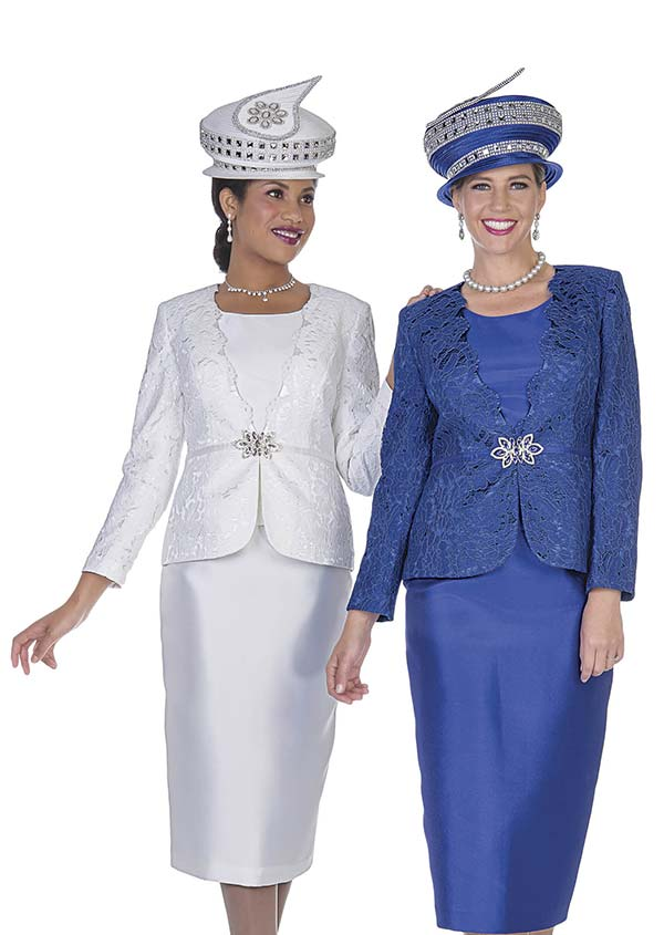 Aussie Austine 5014 Twill Satin Fabric Skirt Suit With Special Lace Design Jacket