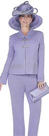 Aussie Austine 5052 Exclusive Knit Womens Pant Suit With Swan Neckline Collar