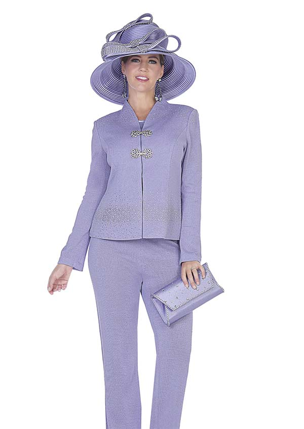Aussie Austine 5052 Exclusive Knit Womens Pant Suit With Swan Neckline Collar