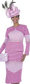 Aussie Austine 5061 Exclusive Knit Fabric Skirt Suit With Multi Directional Stripe Design