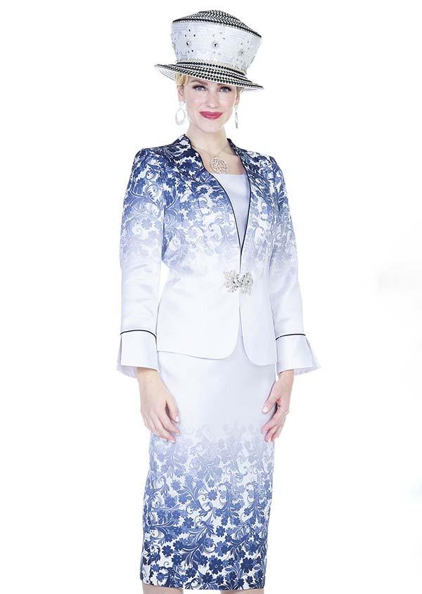 Aussie Austine  5114 Skirt Suit In Twill Satin Fabric With Gradient Floral Print