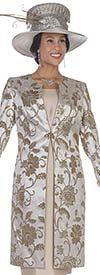 Aussie Austine 5118 Floral Print Metallic Brocade Twill Satin Fabric Jacket & Dress Suit