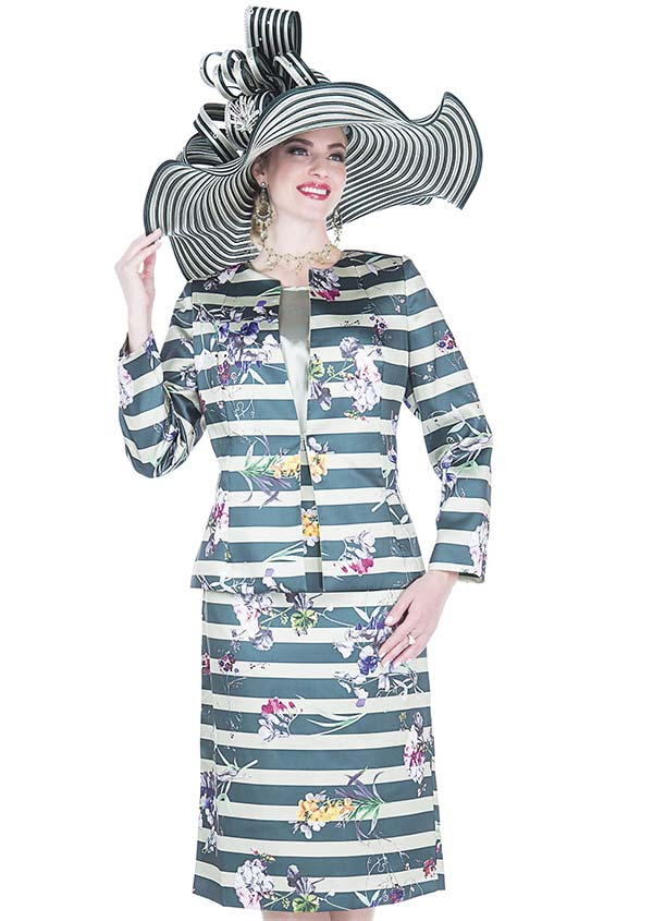 Aussie Austine 5122 Womens Stripe & Floral Print Church Suit