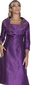 Aussie Austine 1030 Twill Satin Dress With Applique Accents