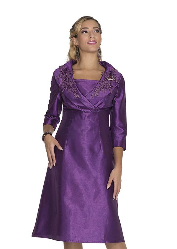 Aussie Austine 1030 Twill Satin Dress With Applique Accents