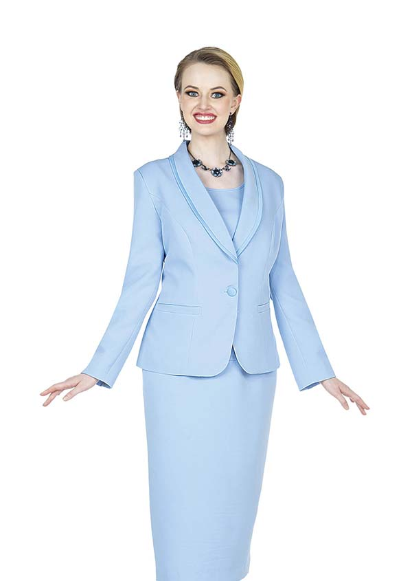 Aussie Austine 832-Blue - Pant & Skirt Wardrober Set With Shawl Lapel Jacket