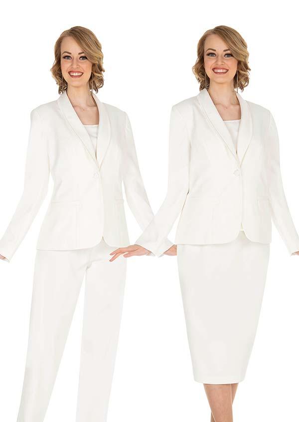 Aussie Austine 832-White - Pant & Skirt Wardrober Set With Shawl Lapel Jacket