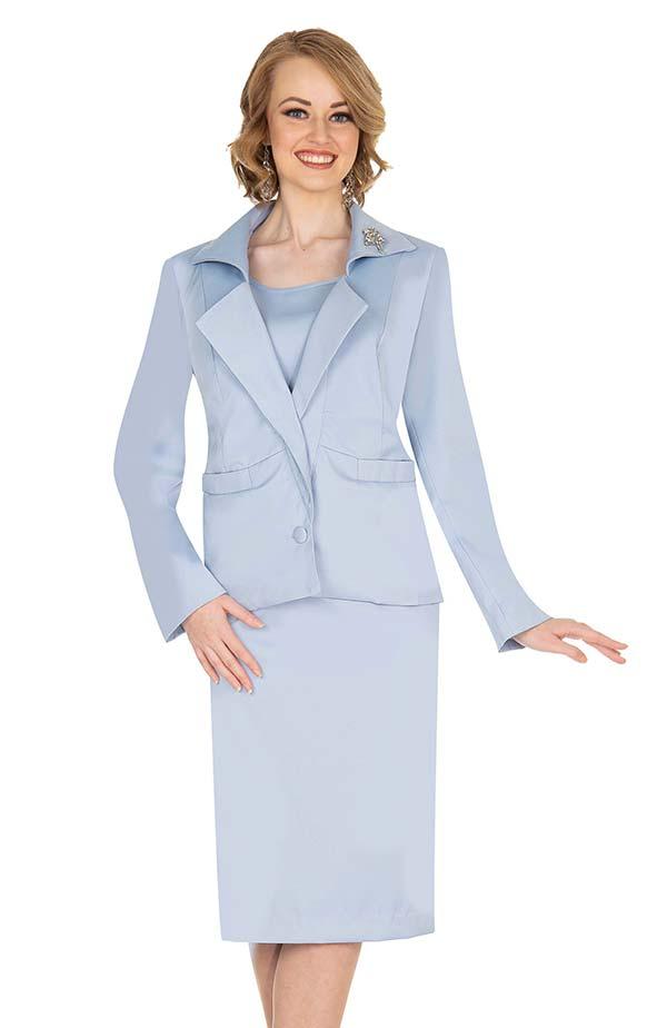 Aussie Austine 833-Blue - Pant & Skirt Wardrober Set With Wing Notch Lapel Jacket