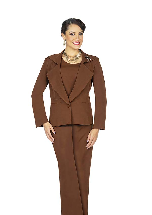 Aussie Austine 833-Brown - Pant & Skirt Wardrober Set With Wing Notch Lapel Jacket