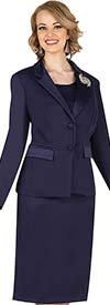 Aussie Austine 834-Navy -  Pant & Skirt Wardrober Set With Notch Lapel Jacket