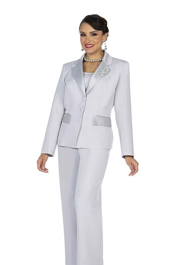 Aussie Austine 834-Silver -  Pant & Skirt Wardrober Set With Notch Lapel Jacket